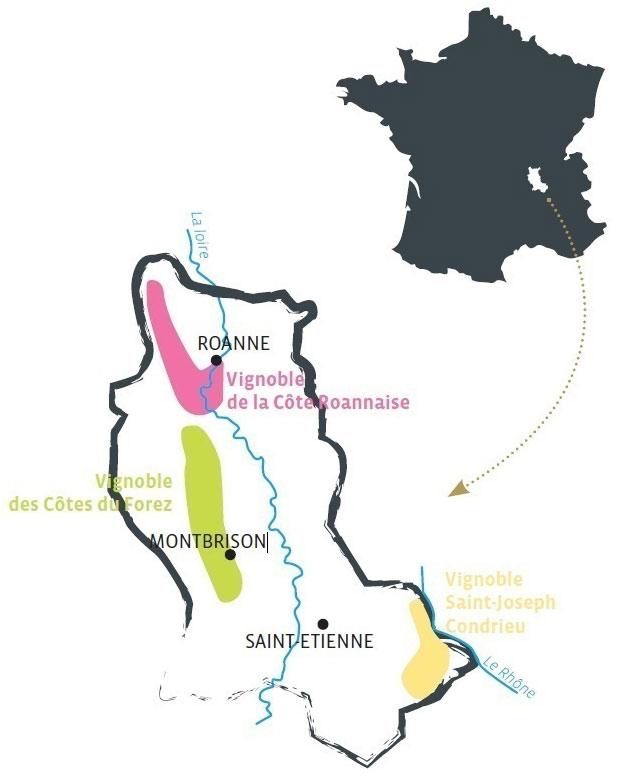 Carte la Loire aux 3 vignobles